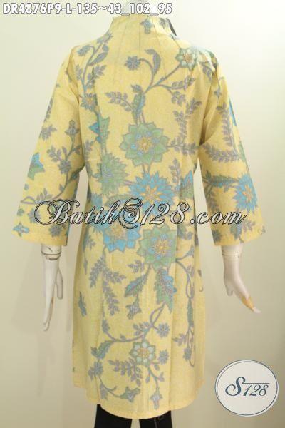 Batik Dress Kerah Langsung Bahan Adem Proses Printing Kwalitas Bagus Untuk Kerja Dan Acara Formal, Berbahan Halus Proses Printing Warna Cerah Untuk Terlihat Lebih Mempesona, Size L