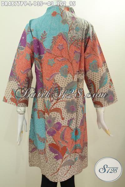 Dress Batik Seragam Kerja Wanita Karir, Produk Busana Batik Perempuan Masa Kini Dengan Desain Kerah Langsung Motif Bagus Warna Pagi Sore Tampil Lebih Cantik Dan Anggun, Size L
