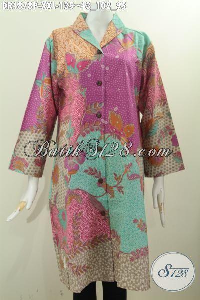 Produk Baju Batik Wanita Terkini Yang Membuat Penampilan Lebih Istimewa Dan Menawan, Dress Batik Solo Model Kerah Langsung Motif Pagi Sore Proses Printing Trend 2016, Size XXL