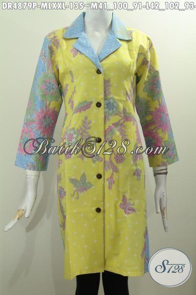 Baju Dress Batik Elegan Kerah Safari, Busana Batik Halus Motif Trendy Berbahan Adem Proses Printing Dengan Kombinasi Warna Pagi Sore Bikin Penampilan Lebih Anggun [DR4879P-M]