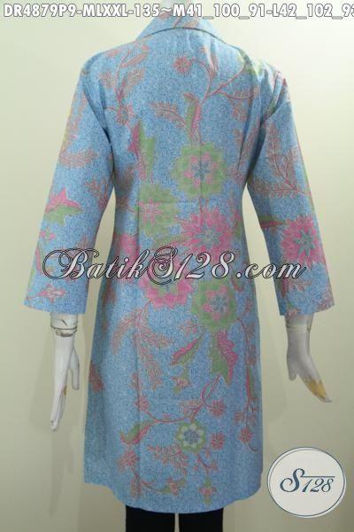 Produk Baju Batik Wanita Model Formal, Dress Batik Warna Pagi Sore Motif Bagus Berbahan Adem Proses Printing Untuk Tampil Elegan, Size M – L – XXL