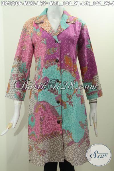 Jual Online Produk Pakaian Batik Istimewa Motif Bagus Proses Printing, Dress Batik Kerah Safari Warna Pagi Sore Keren Banget, Size M – L – XL