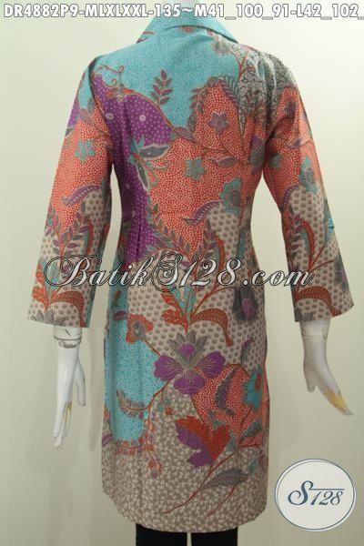 Jual Online Baju Batik Wanita Karir Masa Kini, Seragam Kerja Bahan Batik Printing Motif Mewah Pagi Sore Harga 135K, Size M – L – XL