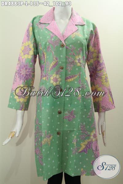 Jual Dress Batik Kerah Safari Warna Pagi Sore, Baju Batik Printing ELegan Berbahan Halus Motif Mewah Harga Grosir, Size L
