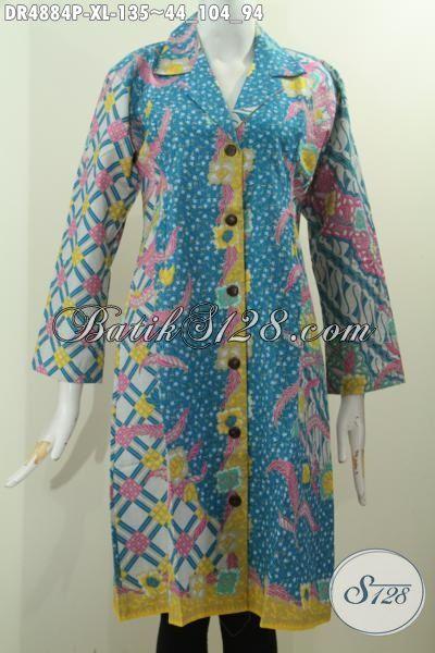 Aneka Pakaian Dress Batik Halus Motif Mewah Proses Printing, Busana Batik Kerah Safari Buatan Solo Untuk Tampil Anggun Berkharisma, Size XL