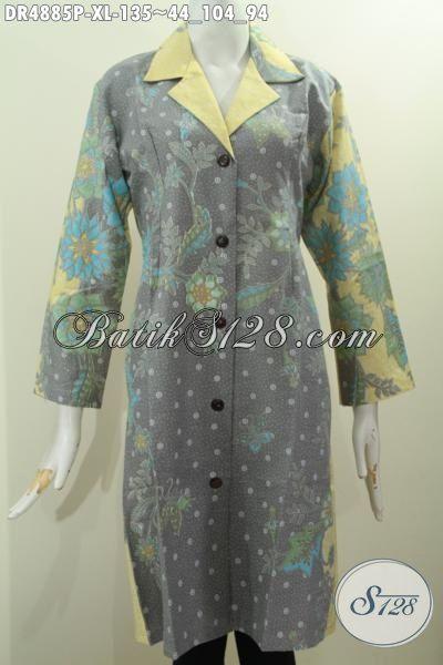 Aneka Baju Dress Batik Halus Kwalitas Istimewa Berbahan Halus Warna Pagi Sore Mode Kerah Safari Untuk Tampil Modis Dan Cantik , Size XL