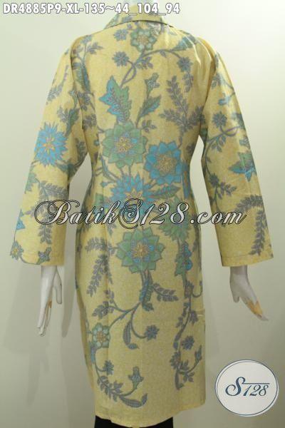 Baju Batik Wanita Dewasa Model Kerah Safari, Busana Batik Elegan Dan Modis Motif Bunga Proses Printing Berpadu Warna Pagi Sore Yang Bikin Wanita Terlihat Mempesona [DR4885P-XL]