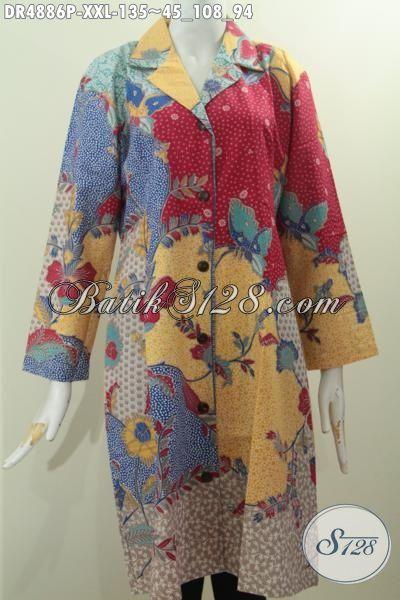 Jual Online Batik Dress Mewah Halus Proses Printing, Pakaian Batik Formal Kerah Safari Warna Berkelas Hadir Dengan Harga 100 Ribuan, Size XXL