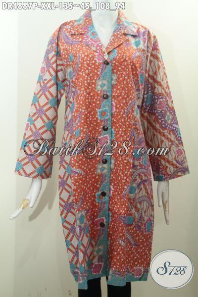 Produk Pakaian Batik Berkelas Untuk Perempuan Gemuk, Baju Batik Printing Motif Kombinasi Model Kerah Safari Bahan Adem Yang Membuat Penampilan Lebih Anggun Dengan Warna Pagi Sore [DR4887P-XXL]