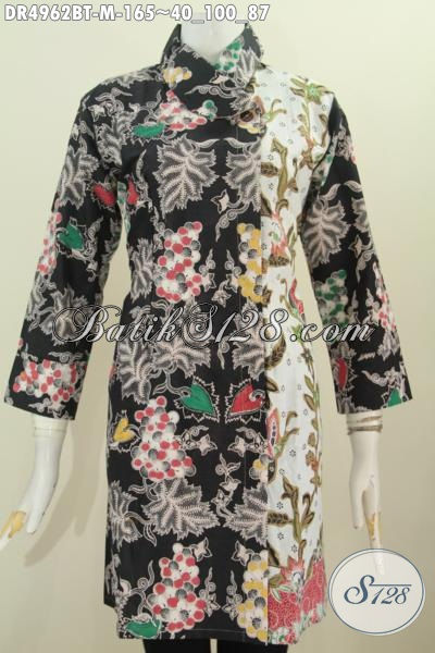 Pakaian Dress Model Terkini Dengan Kerah Miring, Baju Batik Wanita Kantoran Bahan Istimewa Proses Kombinasi Tulis Harga 165K [DR4962BT-M]