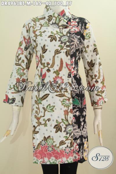 Baju Dres Batik Paling Modis Dengan Kombinasi Warna Berkelas Dan Motif Bunga Nan Trendy, Baju Batik Wanita Masa Kini Desain kerah Miring Proses Kombinasi Tulis Harga 165K, Size M