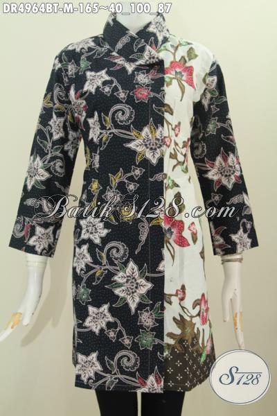 Sedia Baju Dress Dua Warna Desain Mewah Kerah Miring Untuk Tampil Elegan, Baju Batik Modis Bahan Adem Kombinasi Tulis Motif Bunga Tampil Mempesona, Size M
