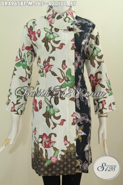 Baju Blus Batik Motif Bunga Model Dress Kerah Miring Nan Modis Dan Mewah, Baju Batik Kombinasi Tulis Buatan Solo Istimewa Buat Kerja Dan Acara Formal, Size M