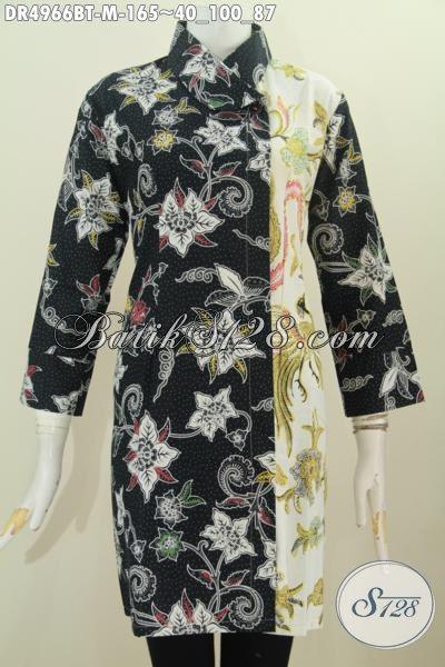 Pusat Batik Online, Jual Baju Dress Istimewa Kwalitas Model Kerah Miring Berbahan Adem Kombinasi Tulis Dua Warna Lebih Berkelas Dan Mewah, Size M