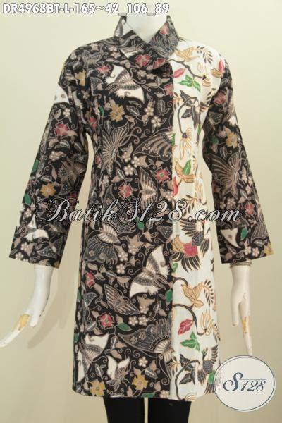 Baju Batik Dua Warna Berbahan Halus Proses Kombinasi Tulis, Dress Batik Kerah Miring Seragam Kerja Wanita Karir Tampil Makin Istimewa, Size L