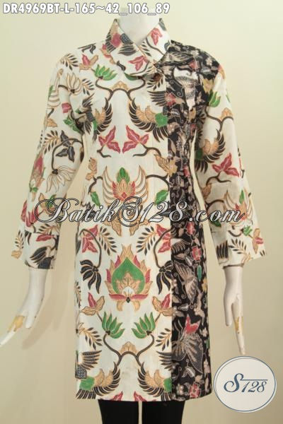 Pakaian Dress Batik Dua Motif, Baju Batik Dua Kombinasi Warna Berbahan Adem Proses Kombinasi Tulis Model Kerah Miring Pas Buat Acara Formal, Size L
