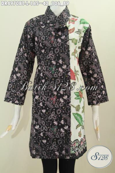 Jual Online Baju Batik Motif Bunga Dua Warna, Pakaian Batik Dress Kerah Miring Deain Elegan Proses Kombinasi Tulis Buat Wanita Dewasa Size L