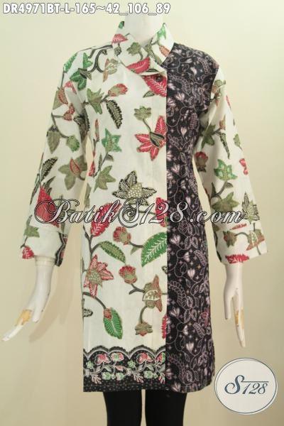 Jual Online Dress Batik Kwalitas Bagus Model Kerah Miring, Pakaian Batik Istimewa Kwalitas Bagus Bahan Adem Motif Bunga Dual Warna Asli Dari Solo, Size L