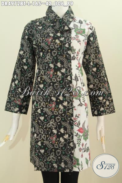 Produk Terkini Baju Batik Dual Warna Dan Motif Desain Kerah Miring Proses Kombinai Tulis Yang Bikin wanita Lebih Anggun Mempesona, Size L