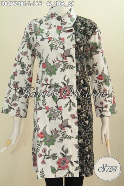 Jual Baju Dress Batik Berkelas Dan Mewah Dengan Harga Murah, Baju Batik Kerah Miring Motif Bunga Dual Warna Proses Kombinasi Tulis, Size L