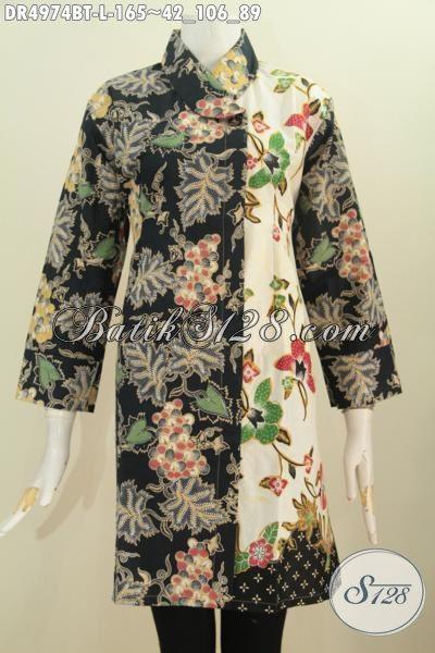 Pakaian Batik Dua Motif, Dress Batik Warna Gelap Terang Berbahan Halus Model Kerah Miring Proses Kombinasi Tulis Untuk Tampil Elegan, Size L