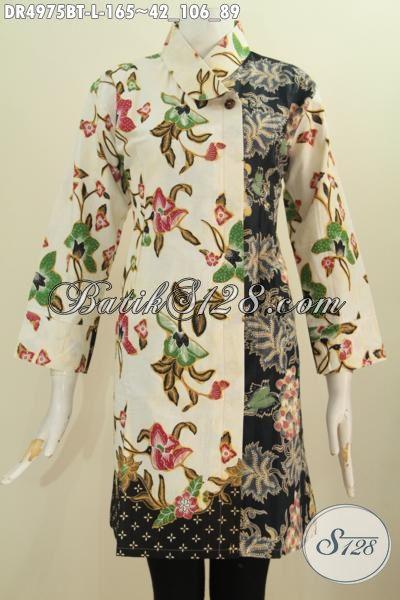 Dress Batik Solo Kombinasi Tulis Dengan Perpadua Dua Motif, Busana Batik Elegan Warna Gelap Terang Model Kerah Miring Istimewa Untuk Kondangan Dan Kerja, Size L