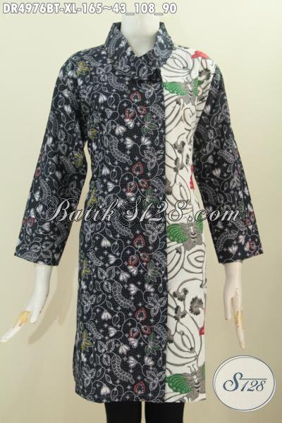Batik Dress Kwalitas Istimewa, Pakaian Batik Modis Halus Proses Kombinasi Tulis Model Kerah Miring Dengan Dua Warna Dan Motif Lebih Mewah Dan Trendy [DR4976BT-XL]