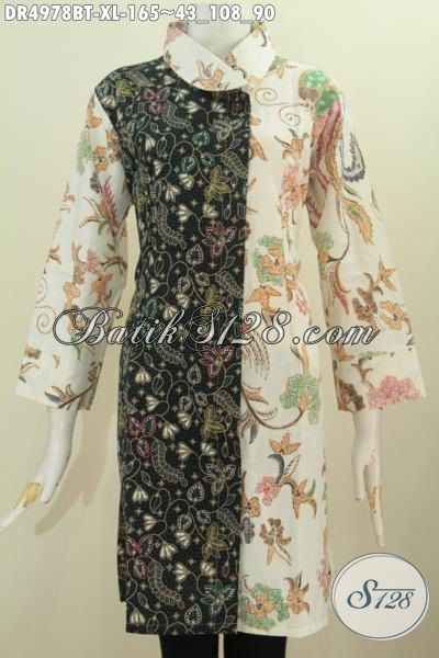 Baju Dress Dua Warna Pakaian Batik Mewah Dual Motif