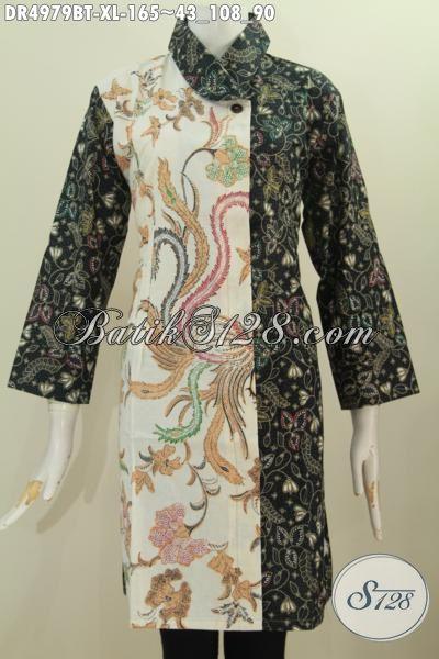 Pakaian Batik Dress Dual Motif Warna Gelap Terang, Busana Batik Halus Kombinasi Tulis Model Kerah Miring Yang Banyak Di Cari Saat Ini, Size XL