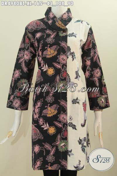 Baju Dress Paling Keren Dan Berkelas Model Kerah Miring Dengan Motif Trendy Kombinasi Tulis, Bikin Perempuan Lebih Anggun Berkharisma, Size XL