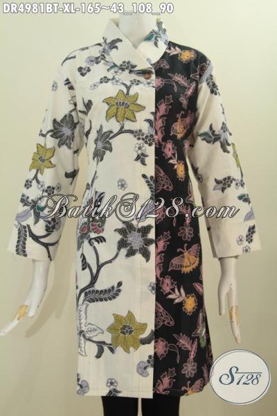 Pakaian Dress Batik Motif Bunga Warna Pagi Sore, Jual Online Batik Wanita DewasaKerah Miring Proses Kombinasi Tulis Bisa Untuk Santai Dan Resmi [DR4981BT-XL]