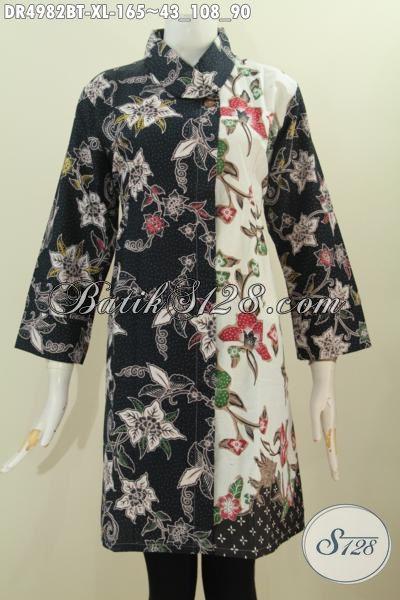 Baju Batik Motif Bunga Nan Modis, Produk Busana Dress Istimewa Bahan Adem Proses Kombinasi Tulis Warna Pagi Sore Desain Kerah Miring Bikin Wanita Telihat Lebih Mempesona [DR4982BT-XL]