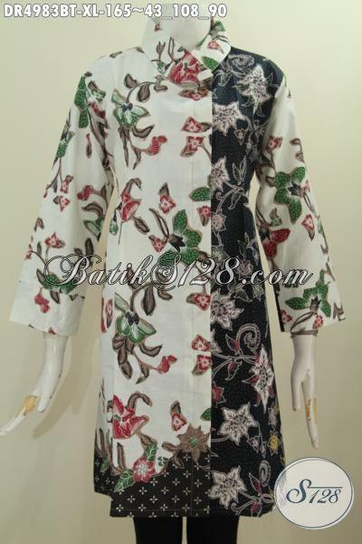 Sedia Pakaian Batik Modis Motif Bunga Ukuran XL, Baju Dress Kerah Miring Proses Kombinasi Tulis Harga 165K Bisa Tampil Mempesona