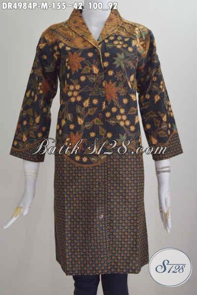 Baju Dress Batik Kerah Langsung, Busana Batik Elegan Motif Mewah Proses Printing Size M