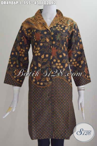 Agen Pakaian Batik Solo Pilihan Komplit, Sedia Dress Kerah Langsung Motif Klasik Size L, Cocok Untuk Acara Formal