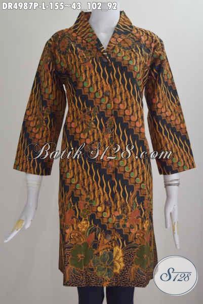 Dress Batik Parang Klasik, Pakaian Batik Halus Proses Printing Model Kerah Langsung Berbahan Halus Kwalitas Istimewa Buatan Solo Asli, Size L