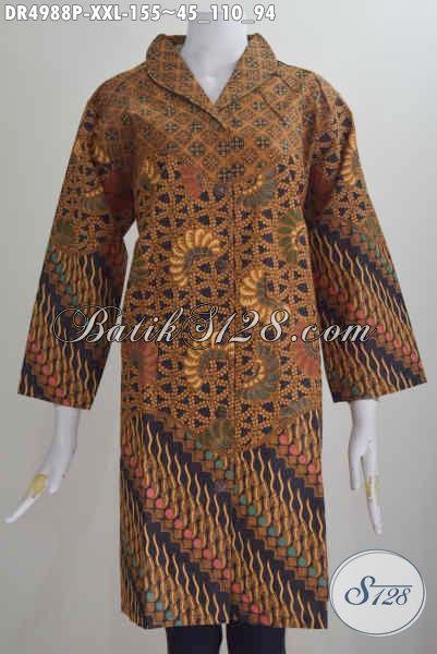 Jual Dress Batik Jumbo Size 3L, Baju Batik Kerah Langsung Motif Klasik Untuk Wanita Gemuk Tampil Lebih Gaya
