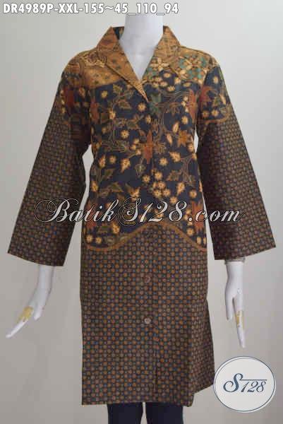 Produk Baju Dress Terbaru Dari Solo, Busana Batik Elegan Modis Motif Klasik Proses Printing Berbahan Halus Untuk Penampilan Lebih Mempesona, Size XXL