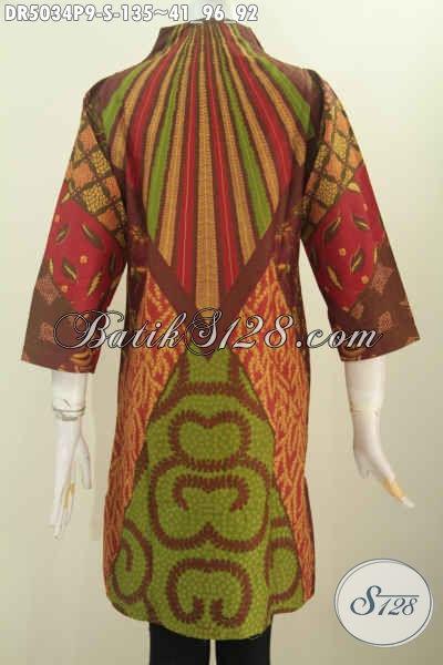 Baju Dress Batik Klasik Nan Elegan, Pakaian Batik Kerja Wanita Muda Tampil Matang Dan Mempesona, Proses Printing Ukuran S
