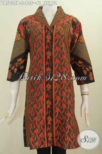 Jual Baju Dress Klasik Proses Printing Model Kerah Langsung, Busana Batik Halus Desain Berkelas Untuk Tampil Lebih Elegan, Size S