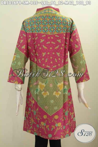 Baju Dress Batik Klasik Mewah Harga Tejangkau, Produk Busana Batik Kerah Langsung Proses Printing Harga 130 Ribuan, Size S – M