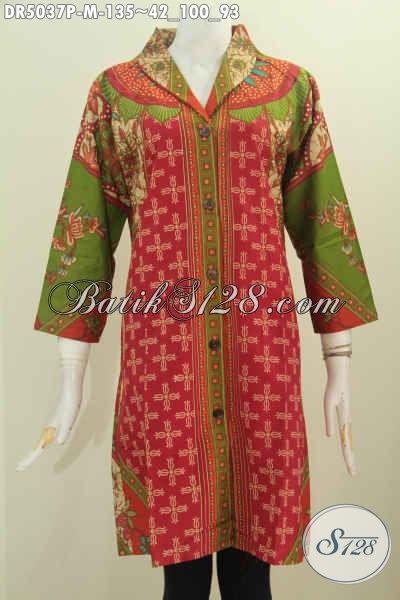 Toko Online Baju Batik Paling Lengkap, Sedia Dress Batik Klasik Model Kerah Langsung Untuk Seragam Kerja Dan Pakaian Rapat Tampil Elegan, Size M