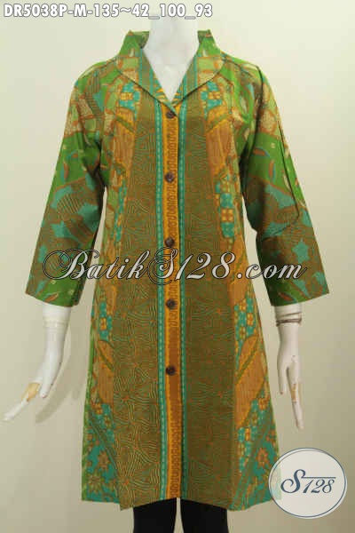 Baju Dress Batik Kerah Langsung Ukuran M Berbahan Halus Kwalitas Istimewa Harga 100 Ribuan, Size M