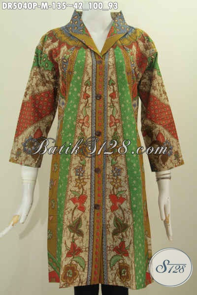 Toko Baju Batik Online, Jual Dress Batik Berbahan Halus Motif Klasik Proses Printing Harga Terjangkau, Size M