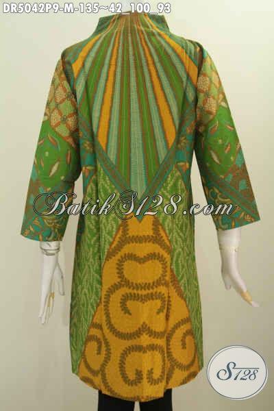 Produk Busana Kerja Istimewa Motif Klasik Bahan Adem Proses Printing 135K, Pakaian Batik Kerah Langsung Untuk Wanita Terlihat Istimewa, Size M
