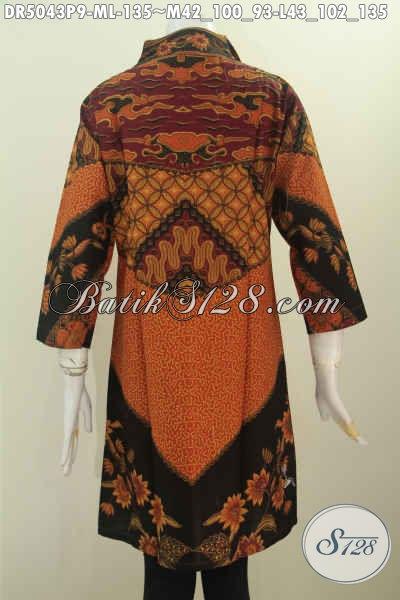 Baju Dress Batik Elegan Untuk Kerja Dan Rapat, Pakaian Batik Istimewa Berbahan Adem Proses Printing Motif Klasik Bikin Penampilan Lebih Anggun, Size M – L