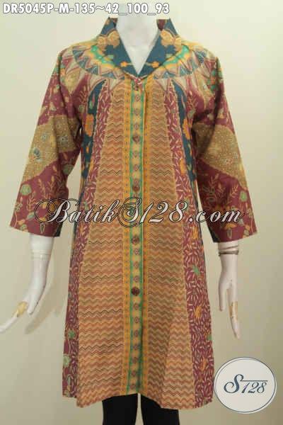 Baju Dress Batik Wanita Karir, Produk Busana Batik Istimewa Berbahan Adem Desain Kerah Langsung Motif Klasik Di Jual Online Harga 135K, Size M