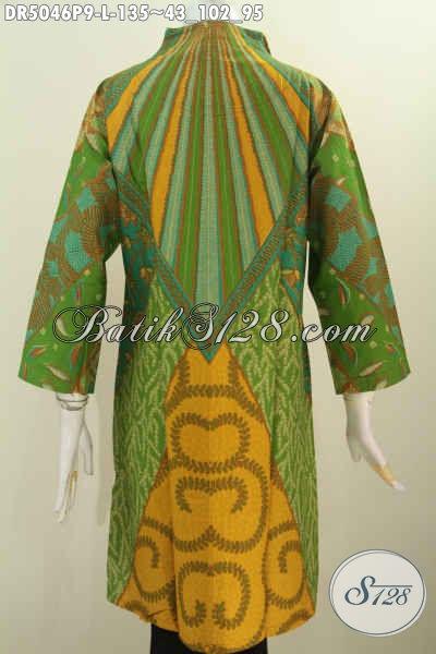 Produk Terbaru Dari Solo Busana Batik Dress Elegan Kwalitas Istimewa, Baju Batik Modis Nan Berkelas Motif Klasik Berbahan Adem Untuk Ke Kantor Dan Acara Formal, Size L