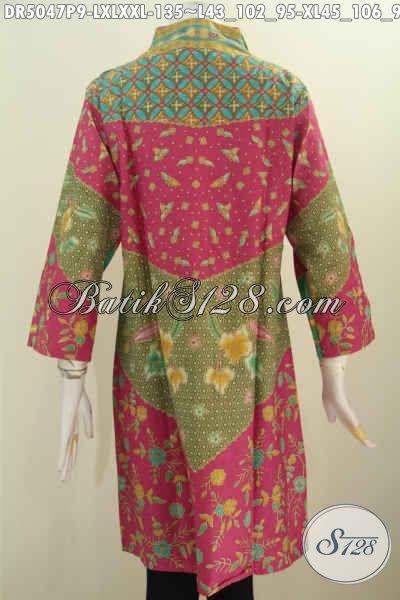 Baju Batik Dress Wanita Dewasa, Busana Batik Elegan Model Kerah Langsung Berbahan Adem Yang Nyaman Di Pakai, Size L – XL – XXL