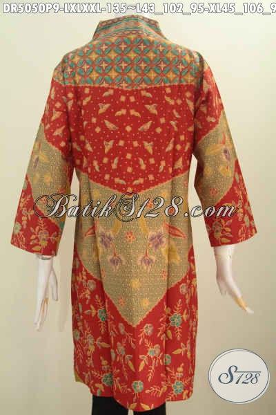 Toko Baju Batik Solo Online, Sedia Dress Kerah Langsung Motif Klasik Yang Bikin Wanita Telihat Elegan, Bahan Halus Proses Printing Harga 135K, Size L – XL – XXL